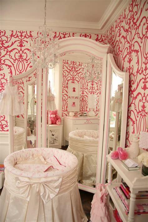 girly nursery wallpaper round crib nursery traditional nursery patricia