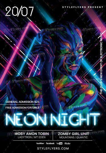 Neon Night Psd Flyer Template 19342 Styleflyers Neon Flyer Template Free
