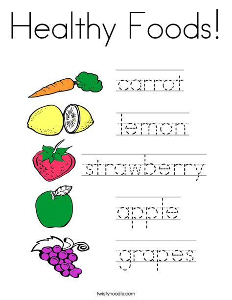 healthy color pictures healthy foods coloring page twisty noodle