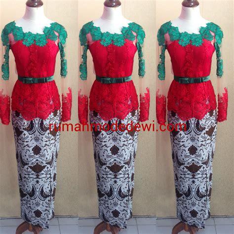 trend warna kain 2014 kebaya peplum merah cerah kombinasi hijau
