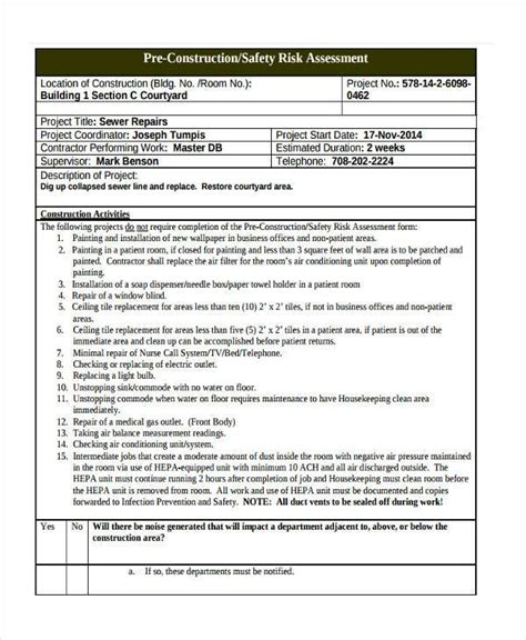 construction risk assessment template 7 construction risk assessment form sles free sle