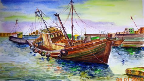 drawing of boat scenery watercolor scenery drawing how to draw scenery by