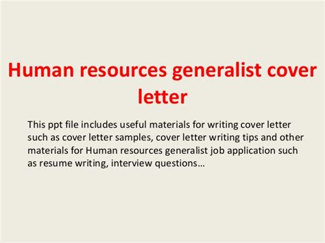 cover letter hr generalist human resources generalist cover letter