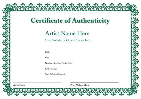 quality certificate template certificate of authenticity templates free