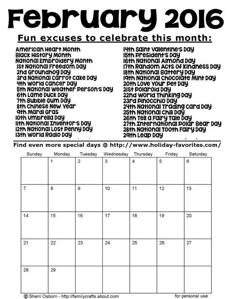 Calendar Of Special Days Special Days In February 2016 Calendar Template 2016