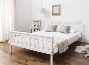 White Wood Bed Frame Uk Bed In White 4 6 Wooden Frame White Ebay