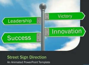 Traffic Road Templates For Powerpoint Presentations Direction Signs Template