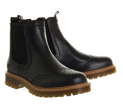 black brogue boots office brogue chelsea boots in black save 26 lyst