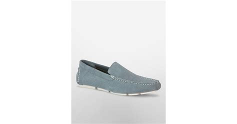 edberth loafers miguel grey calvin klein miguel perforated loafer in gray for lyst