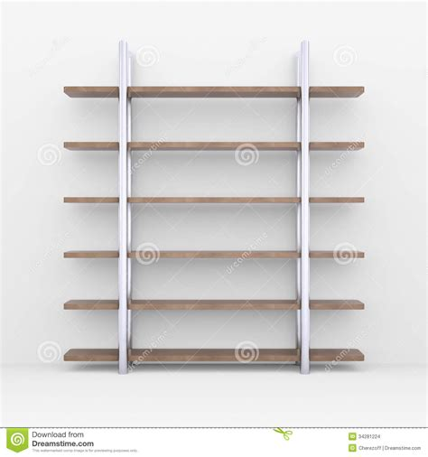 White Wooden Shelves Wooden Shelves With Metal Stands Stock Images Image