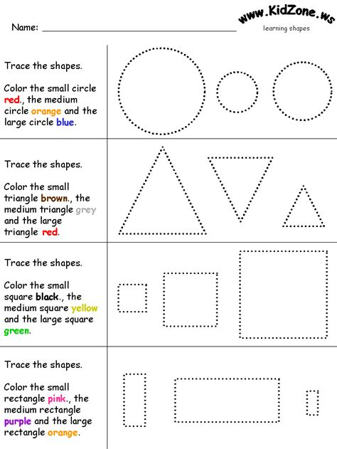 printable shapes big and small small medium and large