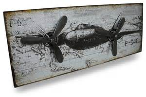vintage style airplane metal wall panel with