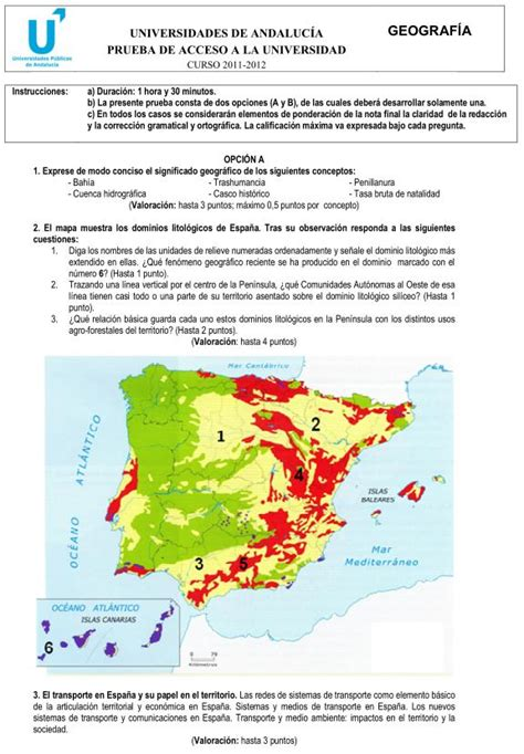 preguntas geografia selectividad examen de selectividad geograf 237 a 1 andaluc 237 a