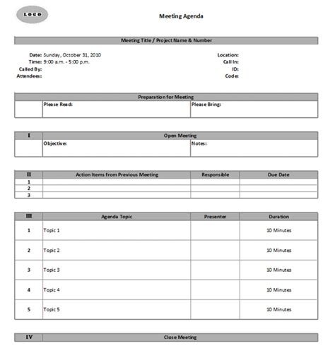 meeting agenda minutes template