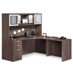 Office Daylight Desk L Executive L Shaped Credenza Desk With 2 Door Open Hutch