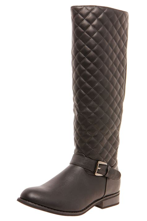 tamsin quilted elastic back knee high boots black black