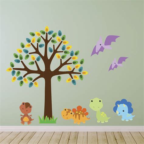 dinosaurs wall stickers tree with baby dinosaurs wall sticker by mirrorin