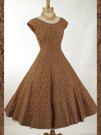 swing tea dress 1950s vintage dresses 50 s mocha lace princess style tea