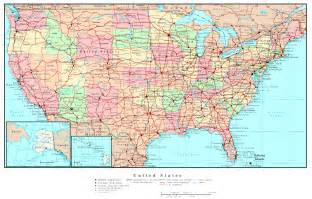map of united states with cities and highways united states political map