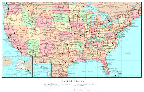 driving map of usa and canada united states political map