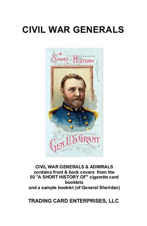 civil war trading card template civil war generals by trading card enterprises llc