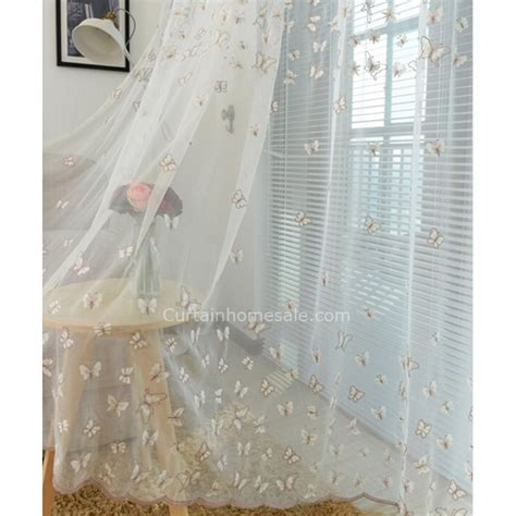 sheer curtain material translucent net fabric decorative butterfly patterned