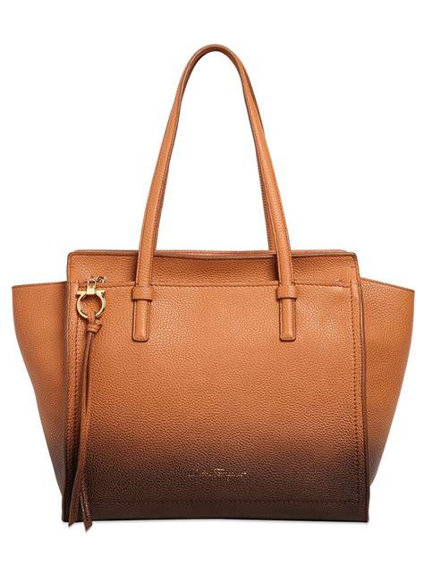 Tote Bag Brown lyst ferragamo medium grained leather tote bag in brown