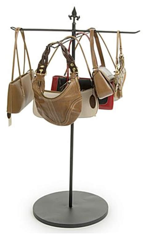 purse rack stand retail fixture with four way arms