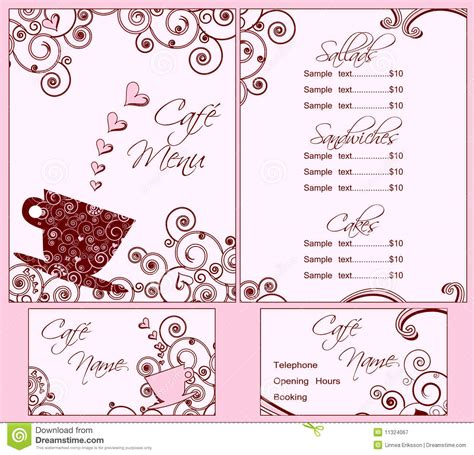 cute pink cafe menu and business card templates royalty