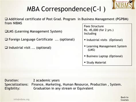 Additional Courses For Mba Marketing by Nibms Mba B School
