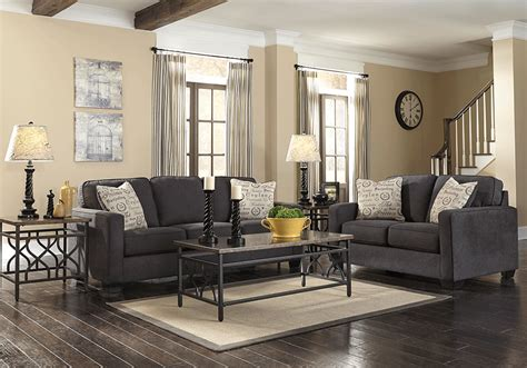 overstock living room alenya charcoal sofa set lexington overstock warehouse