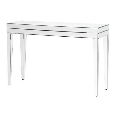 Narrow Glass Console Table Modern Venetian Glass Mirrored Tapered Leg Narrow Console Table