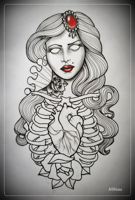 tattoo girl sketch dead girl tattoo flash outline by oldskulllovebymw a r