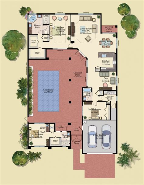 floor plans for homes with pools u shaped house plans with central courtyard 4 swimming