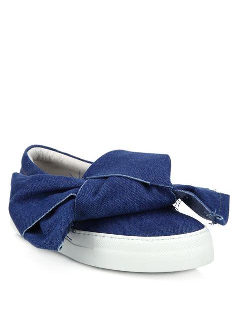 joshua sanders sneakers joshua sanders bow knot detail slip on denim sneakers in