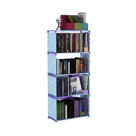 Rak Buku 4 Susun jual chanel7 rak lemari penyimpanan multi fungsi 4 susun birupolkadot harga