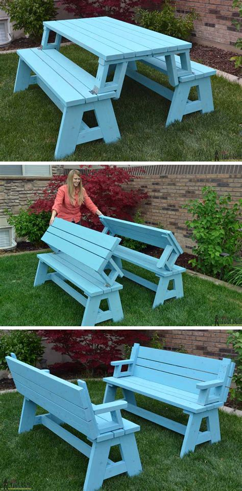 diy picnic bench convertible picnic table and bench her tool belt