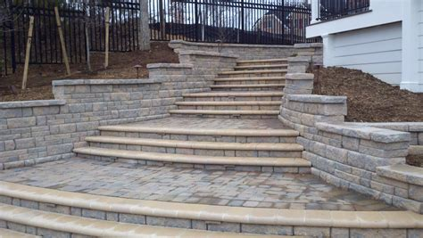 Retaining Wall Stairs Design Beautiful Pool With Bluestone Patios And Fireplace Project Ask The Landscape