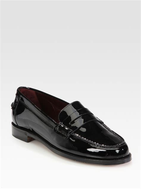 black patent loafer ralph collection irina patent leather loafers in