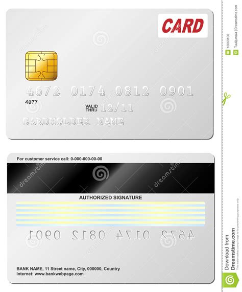 Credit Card Template Front And Back Credit Card Stock Photo Image 10863180