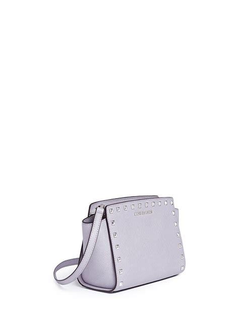 Mk Selma Medium Lilac michael kors selma stud medium saffiano leather messenger bag in purple lyst