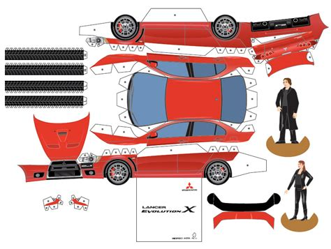Papercraft Car Templates - mitsubishi paper cars cartype
