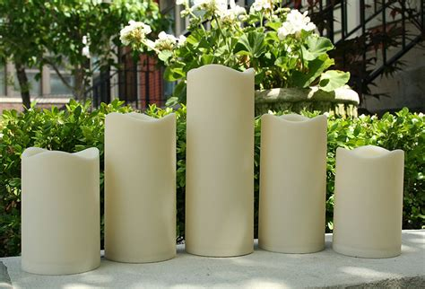 flameless indoor outdoor resin candle set    timer