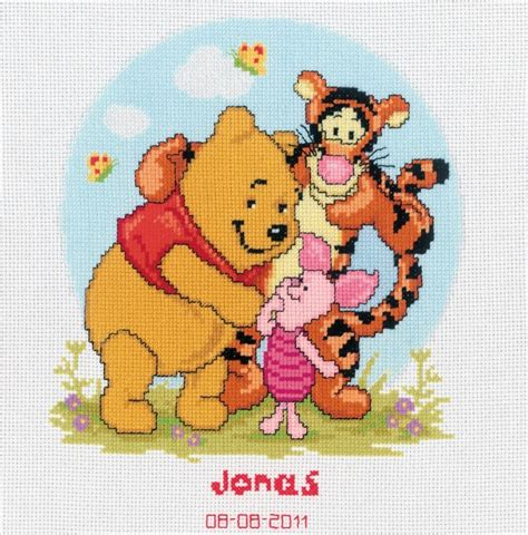 Winnie The Pooh Cross Stitch Birth Record Pooh And Friends Birth Record Cross Stitch Vervaco 2575
