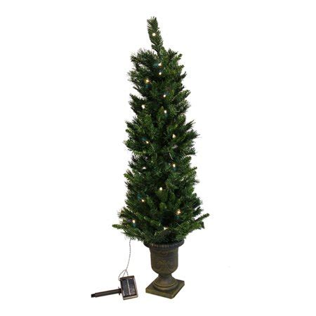 prelit battery operated potted christmas tree 4 pre lit potted solar powered artificial tree clear led lights walmart
