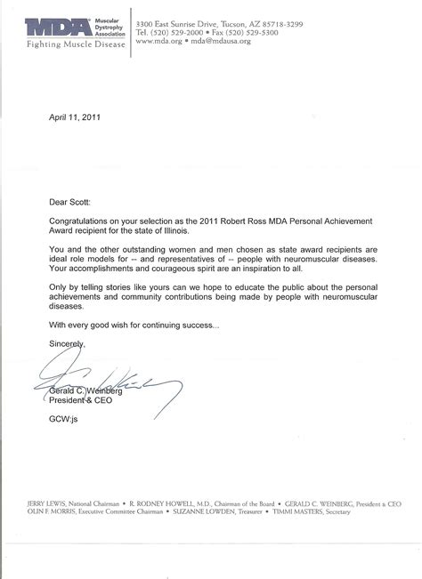 Award Congratulatory Letter Congratulations Letter From The President And Ceo Of The Muscular Dystrophy Association Mda