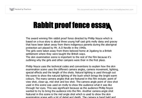 Rabbit Proof Fence Essay by Rabbit Proof Fence The Skin Examination Is Important To The Rest Of The Because Its