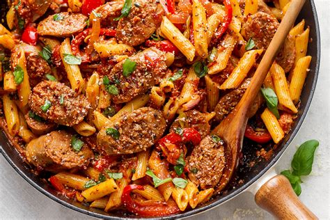 pasta sausage sausage pasta skillet recipe eatwell101