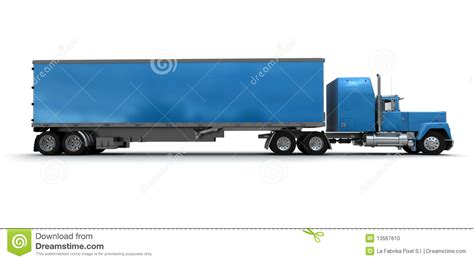 blue trailer side view of a big blue trailer truck stock illustration