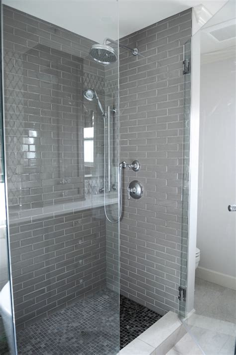 gray shower tiles contemporary bathroom benjamin